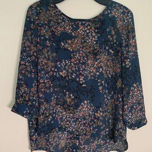 PLENTY blue floral blouse